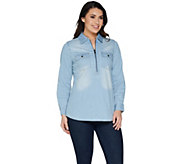 Studio by Denim & Co. Half Zip Denim Long Sleeve Shirt - A300995