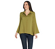 Joan Rivers Tulip Sleeve Button Front Blouse - A304195