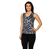 Susan Graver Liquid Knit Animal Print V-neck Tank - A215096