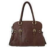 As Is Dooney & Bourke Florentine Leather Domed Bucket Satchel - A227496