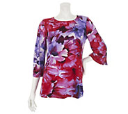 Susan Graver Liquid Knit Printed Top w/ Split Sleeve Button Detail - A233096