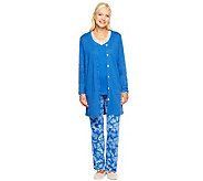 Carole Hochman Winter Paisley 3-Piece Pajama Set with Lace Trim - A235196