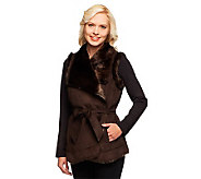 Dennis Basso Platinum Collection Faux Shearling Belted Vest - A236896