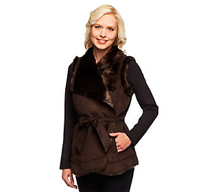 Product image of Dennis Basso Platinum Collection Faux Shearling Belted Vest