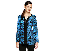 Susan Graver Liquid Knit Printed 3/4 Sleeve Tunic with Sparkles - A239796