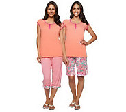 As Is Carole Hochman 3-pc Capri & Bermuda Shorts Pajama Set - A251196