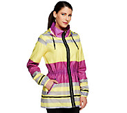 Dennis Basso Printed Hooded Anorak Jacket with Drawstring Waist - A252596