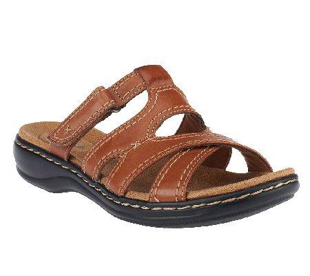 Clarks Bendables Leisa Islands Leather Slide Sandals