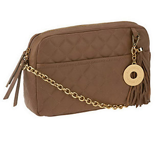 As Is Isaac Mizrahi Live! Bridgehampton Lamb Leather Quilted Handbag