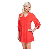Denim & Co. Beach Knit Terry Cover-up with Hood & Pockets - A254896