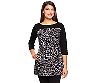 As Is Denim & Co. Knit 3/4 Sleeve Animal Print Tunic - A254996