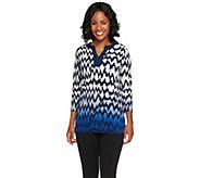 Susan Graver Liquid Knit 3/4 Sleeve Chevron Print Ombre Tunic - A257096