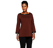 Bob Mackies Square Neck Tunic with Faux Leather Trim - A258896
