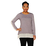 LOGO Lounge by Lori Goldstein French Terry Top with Chiffon - A261096