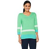Denim & Co. Color-Block 3/4 Sleeve V-neck Sweater - A261796