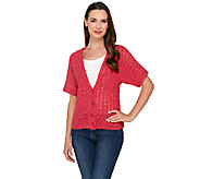 Denim & Co. Crochet Short Sleeve Button Front Cardigan - A265696