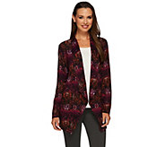 Susan Graver Printed Sweater Knit Drape Front Cardigan - A270296