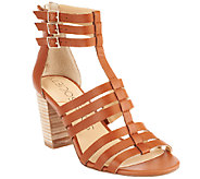 As Is Sole Society Leather Block Heel Sandals - Elise - A270396