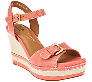 As Is Clarks Leather Wedges - Zia Castle - A270896