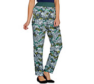 LOGO by Lori Goldstein Printed Challis Pants with Knit Waistband - A274096