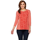 LOGO Lounge by Lori Goldstein French Terry Top with Lace Crochet Front - A274996
