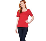 Joan Rivers Wardrobe Builders Square Neck Tee Shirt - A275296