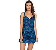 Denim & Co. Beach Ruched Swim Dress - A275496