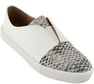 LOGO by Lori Goldstein Leather Slip-On Sneakers with Goring - A277096