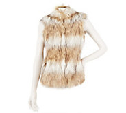 As Is Dennis Basso Striped Tipped Faux Fur Vest with Knit Side Panel - A277596