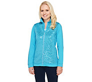 As Is Quacker Factory Sequin Front Rhinestone Zip Terry Jacket - A278496