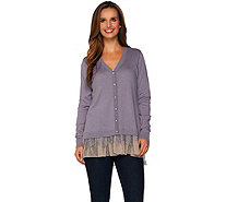 LOGO by Lori Goldstein Cotton Cashmere Cardigan with Swiss Dot Hem - A279396