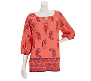 As Is Liz Claiborne_New York Paisley Printed Tunic w/ Beaded Ties - A282696