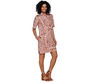 As Is Denim & Co. Elbow Sleeve Tribal Printed Denim Dress - A283396