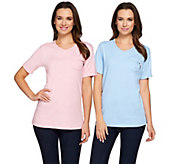 As Is Quacker Factory Set of 2 Short Sleeve T-shirts with Zipper Detail - A286096