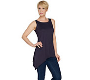 LOGO Layers by Lori Goldstein Tank with High Slit at Asymmetric Hem - A287996