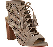 Marc Fisher Perforated Suede Lace-up Booties - Satire - A288696