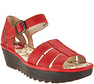 FLY London Leather Triple Strap Wedge Sandals - Rese - A289796