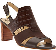 As Is Isaac Mizrahi Live! Leather Sandals with Heel - A291596