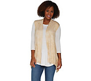 LOGO by Lori Goldstein Distressed Print Open Front Vest - A292796