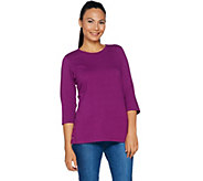 Denim & Co. Essentials 3/4 Sleeve Round Neck Top with Button Detail - A292996