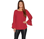 Laurie Felt Woven Blouse with Bell Tie- Sleeve Detail - A295696