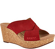 As Is Clarks Leather Cross Band Wedge Slides - Annadel Danae - A300596