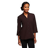 Susan Graver Stretch Crepe 3/4 Sleeve Mandarin Collar Shirt Jacket - A71996