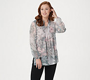 Susan Graver Crinkled Sheer Chiffon Printed Tunic with Knit Tank - A81796
