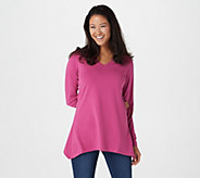 Denim & Co. Perfect Jersey Long Sleeve V-Neck Trapeze Hem Top - A227297