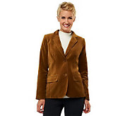 Isaac Mizrahi Live! Velvet Blazer with Printed Lining - A227397