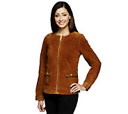 Liz Claiborne New York Zip Front Suede Jacket w/ Turnlocks - A237797