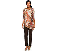 Women with Control Regular Printed Tunic and Slim Pants Set - A240497