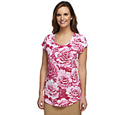 Isaac Mizrahi Live! Cabbage Floral Printed Knit T-Shirt - A252097