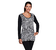 Susan Graver Liquid Knit All-Over Front Print & Solid Long Sleeve Top - A257097